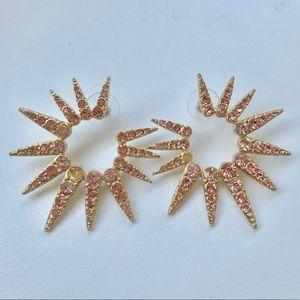 Sea Urchin Crystal Earrings (Gold/Pink)